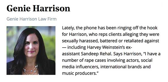 Sexual harassment attorney Genie Harrison in The Hollywood Reporter Power Lawyers 2018 Issue.
