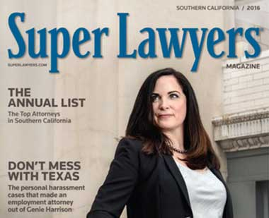Top Super Lawyer Genie Harrison in Super Lawyers magazine discussing her road to becoming a sexual harassment lawyer