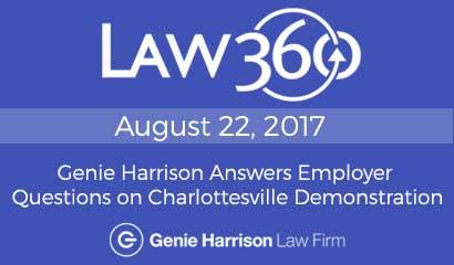 Attorney Genie Harrison answers employer questions regarding Charlottesville demonstrators