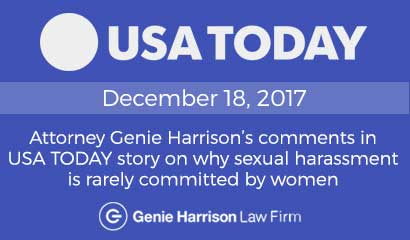 Women are rarely accused of harassment says attorney Genie Harrison