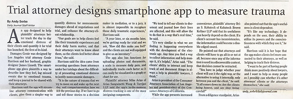 Damages Gennie mobile app in the Daily Journal