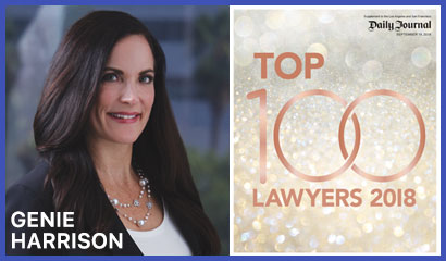 Sexual harassment attorney Genie Harrison selected to Daily Journal Top 100 Lawyers in California List as one of the Top 100