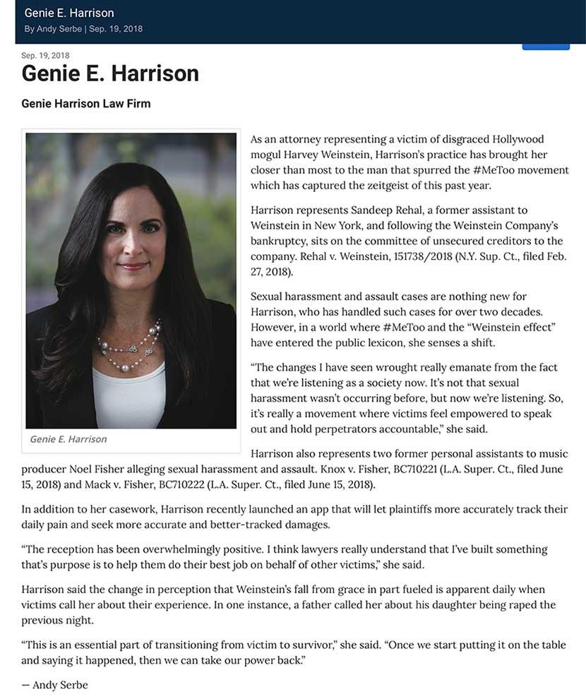 Daily Journal Top 100 lawyer Genie Harrison