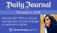 Senate Bill 1300 article by Genie Harrison in Daily Journal