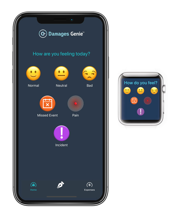 Damages Genie mobile app on smartphone and Apple Watch