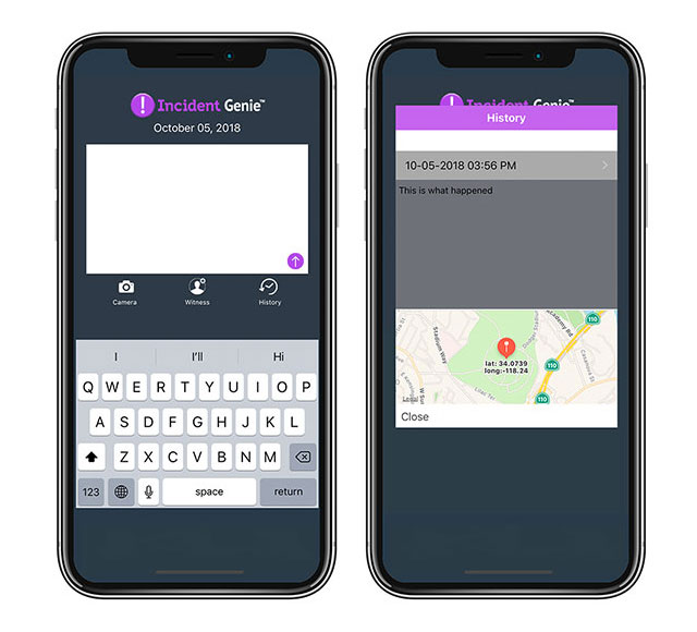 Incident Genie reporting app for victims