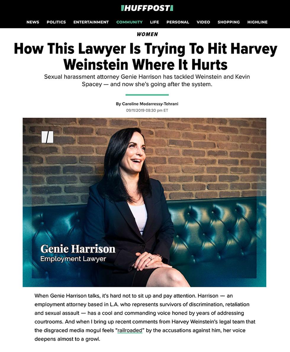 Employment lawyer Genie Harrison hits Harvey Weinstein where it hurts.