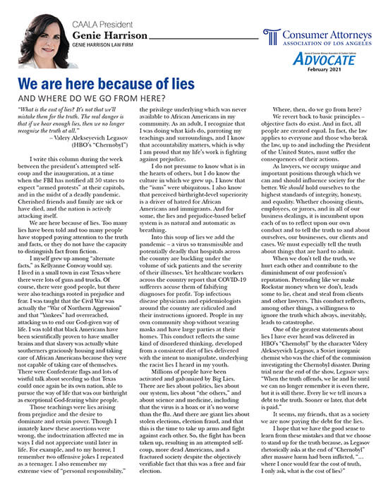 Genie Harrison's column in CAALA Advocate February 2021