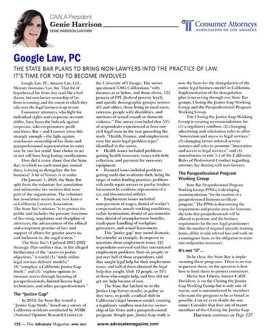 Google Law - Genie Harrison's column in CAALA Advocate April 2021